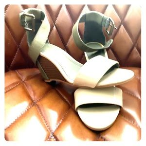 Mia size 6 leather green/tan ankle strap wedges.